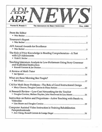 DI News, Vol. 8, No. 1 - Fall 1988