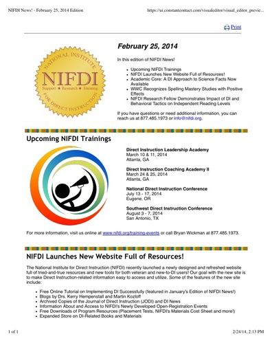 NIFDI News! 02-25-14 Edition