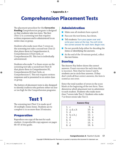 Corrective Reading (Comprehension) Placement Test
