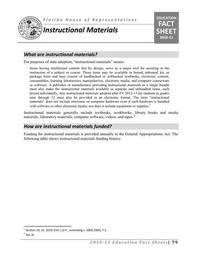 Florida Instructional Materials Fact Sheet