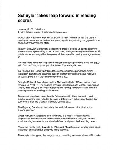 Schuyler Takes Leap Forward in Reading Scores (Columbus Telegram, Jan 2012)