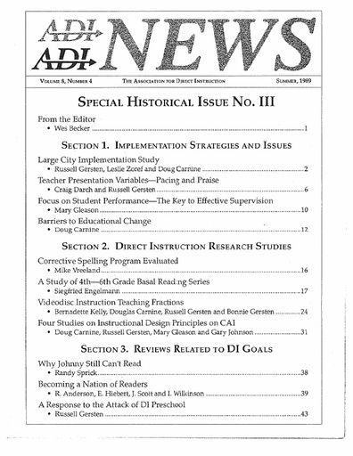 DI News, Vol. 8, No. 4 - Summer 1989