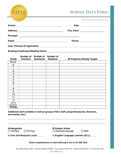School Data Form (Single School): Elementary