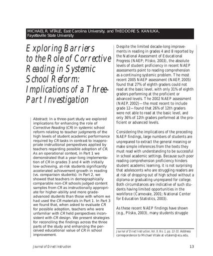 Exploring Barriers to the Role of Corrective Reading in Systemic School Reform: Implications of a Three-Part Investigation