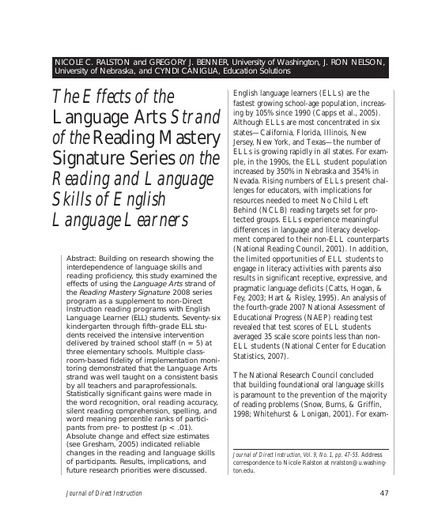 The Effects of the Language Arts Strand of the Reading Mastery Signature Series on the Reading and Language Skills of English Language Learners