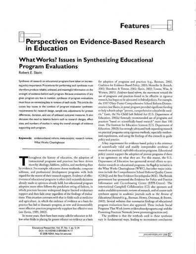 Perspectives on Evidence-Based Research in Education by Robert Slavin (Educational Researcher, Jan/Feb 2008)