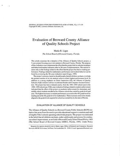 Evaluation of Broward County Alliance of Quality Schools Project (Ligas, 2002)