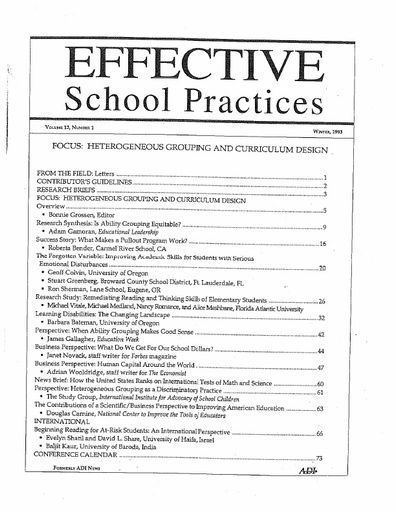 Effective School Practices, Vol. 12, No. 1 - Winter 1993