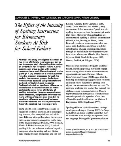 The Effect of the Intensity of Spelling Instruction of Elementary Students At Risk for School Failure