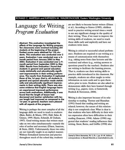 Language for Writing Program Evaluation