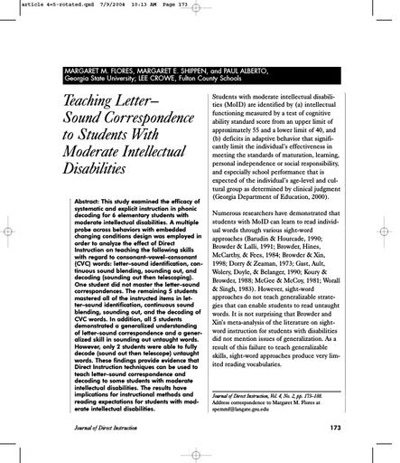 Teaching Letter-Sound Correspondence to Students With Moderate Intellectual Disabilities