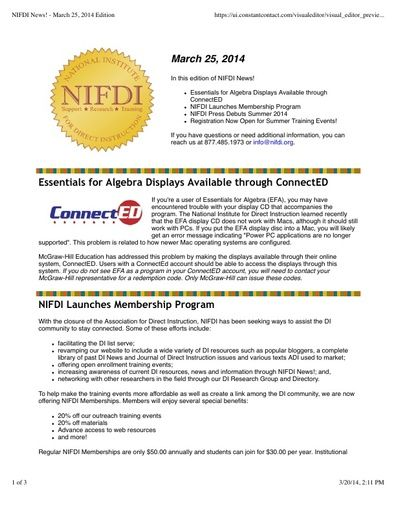 NIFDI News! 03-25-14 Edition