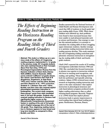 The Effects of Beginning Reading Instruction in the Horizons Reading Program on the Reading Skills of Third and Fourth Graders