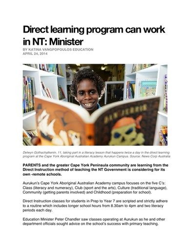 Australian Education Minister: Direct Instruction Program Can Work in NT (NT News, April 2014)