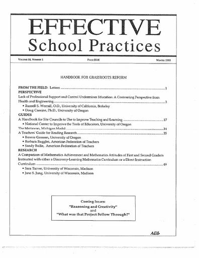 Effective School Practices, Vol. 14, No. 1 - Winter 1995
