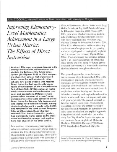 Improving Elementary-Level Mathematics Achievement in a Large Urban District: The Effects of Direct Instruction in the Baltimore City Public School System