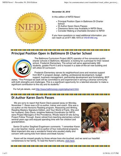 NIFDI News! November 2016 Edition