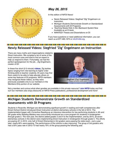 NIFDI News! 05-26-15 Edition
