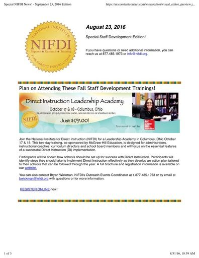 Special NIFDI News! August 23, 2016 Edition