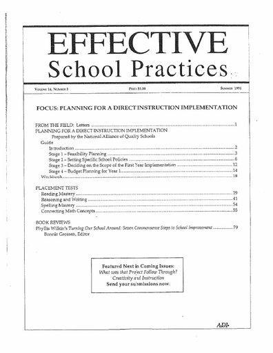Effective School Practices, Vol. 14, No. 3 - Summer 1995