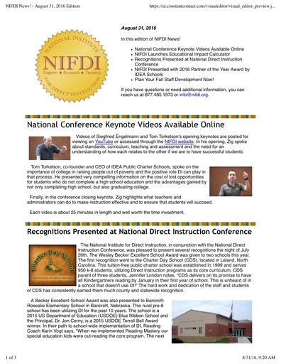 NIFDI News! August 2016 Edition