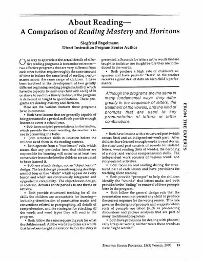 About Reading - A Comparison of Reading Mastery and Horizons