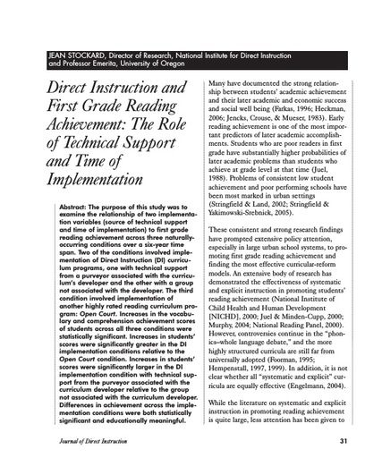 Direct Instruction and First Grade Reading Achievement: The Role of Technical Support and Time of Implementation