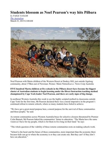 Students blossom as Noel Pearson's way hits Pilbara (The Australian, Mar 2015)