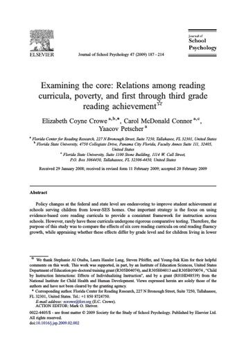 Examining the Core: Relations Among Reading Curricula, Poverty, and First through Third Grade Reading Achievement (Crowe, et al, 2009)