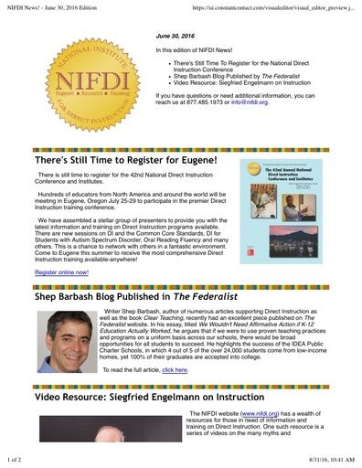 NIFDI News! June 2016 Edition