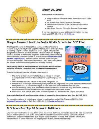 NIFDI News! 03-24-15 Edition