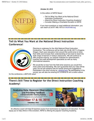 NIFDI News! October 2016 Edition