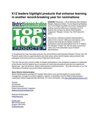 "Reading Mastery Signature Edition and Funnix Named ""Reader's Choice Top 100 Product"" by District Administration Magazine (Dec 2013)"