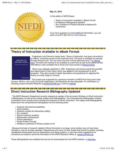 NIFDI News! May 2016 Edition