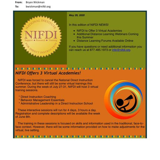 NIFDI News!   May, 2020