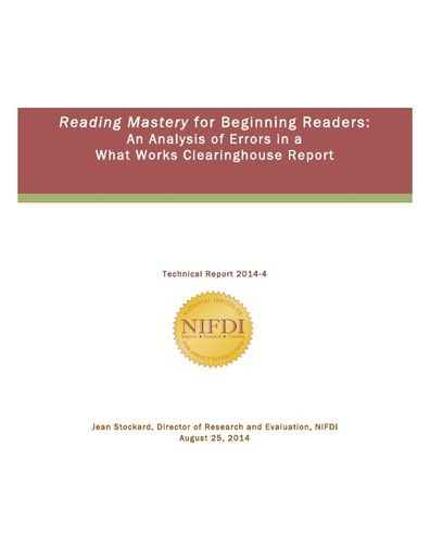 2014-4: Reading Mastery for Beginning Readers: An Analysis of Errors in a What Works Clearinghouse Report