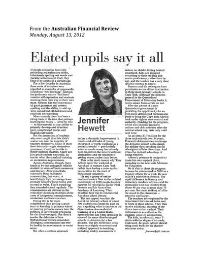 Elated Pupils Say it All (Australian Financial Review, Aug 2012)