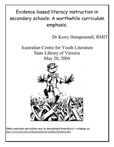 Hempenstall, K. (2004). Evidence-based literacy instruction in secondary schools.