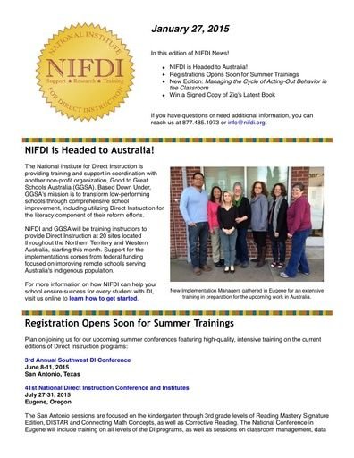 NIFDI News! 01-27-15 Edition