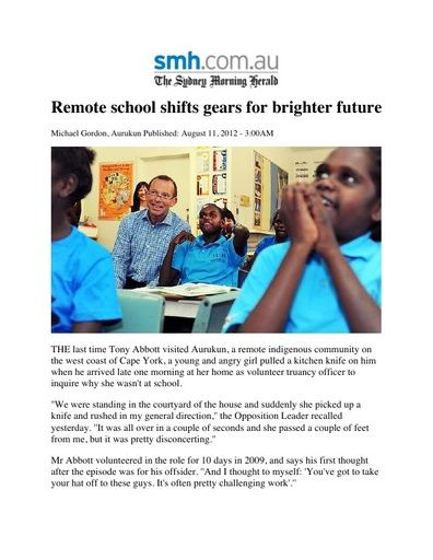 Remote School Shifts Gears for Brighter Future (The Sydney Morning Herald, Aug 2012)