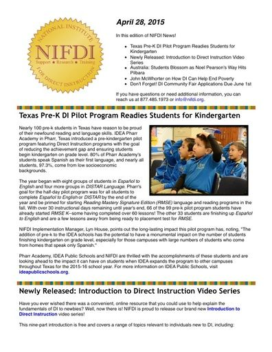 NIFDI News! 04-28-15 Edition