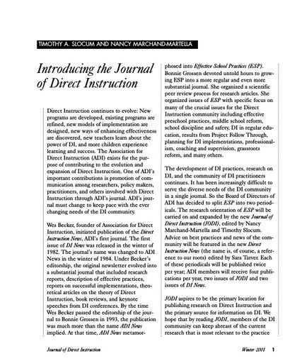 Introducing the Journal of Direct Instruction