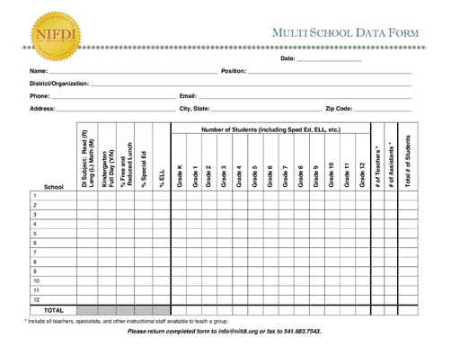 Multi-School Data Form