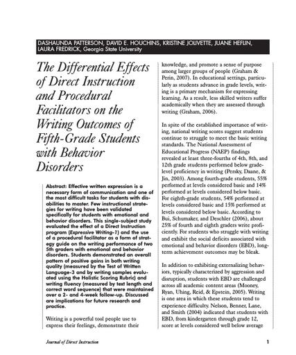 The Differential Effects of Direct Instruction and Procedural Facilitators on the Writing Outcomes of Fifth-Grade Students with Behavior Disorders