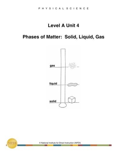 Academic Core Level A - Unit #4: Phases of Matter