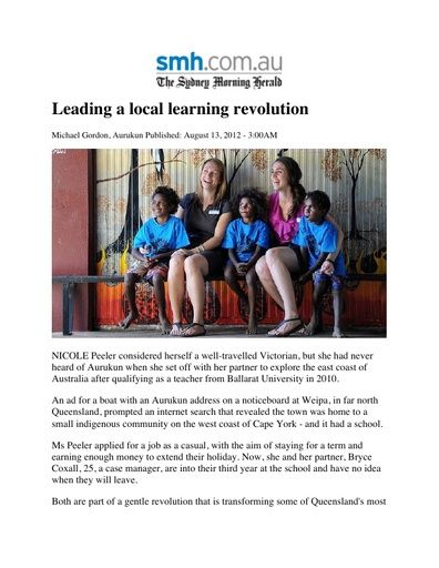 Leading a Local Learning Revolution (The Sydney Morning Herald, Aug 2012)
