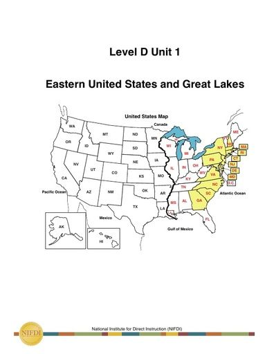 Academic Core Level D - Sample of Unit #1: Eastern United States and Great Lakes