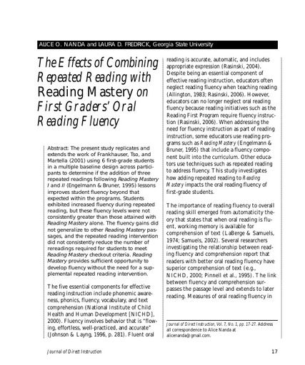 The Effects of Combining Repeated Reading with Reading Mastery on First Graders Oral Reading Fluency