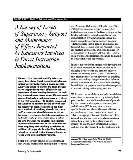 A Survey of Levels of Supervisory Support and Maintenance of Effects Reported by Educators