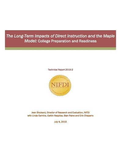 2015-2: The Long-Term Impacts of Direct Instruction and the Maple Model: College Preparation and Readiness